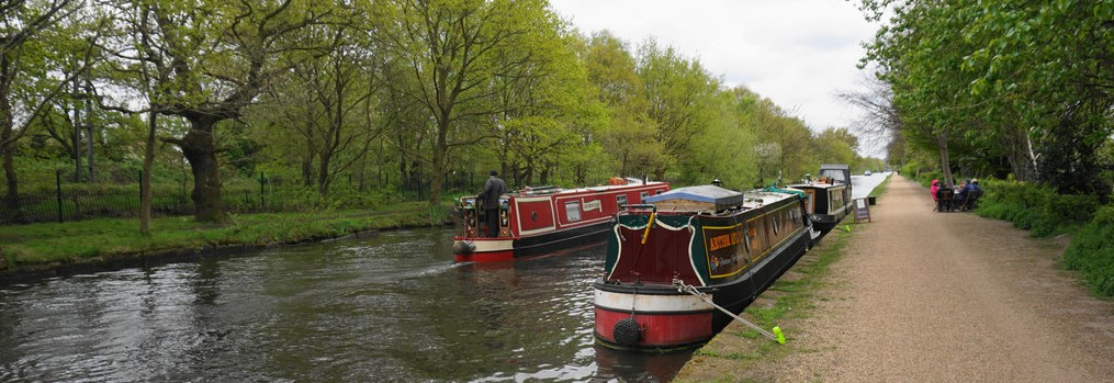 Canal boats on Bridgewater Canal in Sale by Bill Boaden
