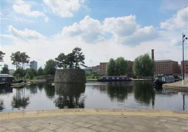 Waterways and islands in Cotton Field Park, New Islington, Manchester