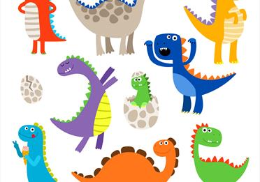 Colourful illustrated dinosaurs.