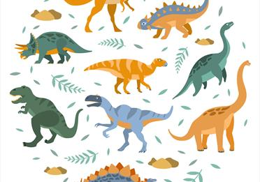 Illustrated dinosaurs.