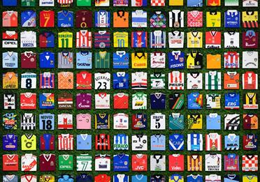 A collage of football shirt designs.