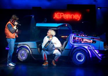 Marty McFly and Doc Brown in Back to the Future the Musical at the Manchester Opera House
