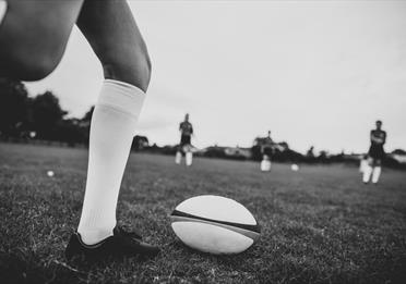 Rugby ball on field